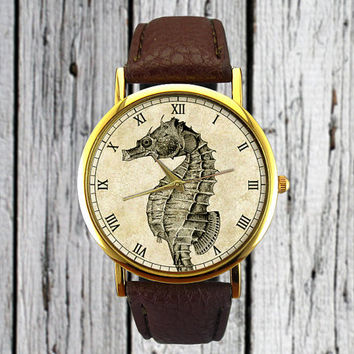 Vintage Seahorse Watch | Classic Illustration | Leather Watch | Ladies Watch | Mens Watch | Gift Idea | For Him For Her | Fashion Accessory