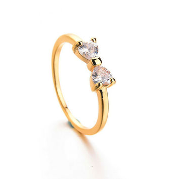Bow Zircon Crystal Gold Plated Ring