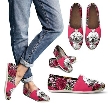 Illustrated Bichon Frise Casual Shoes