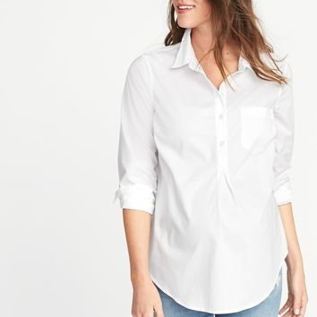 Maternity Classic White Popover Shirt | Old Navy