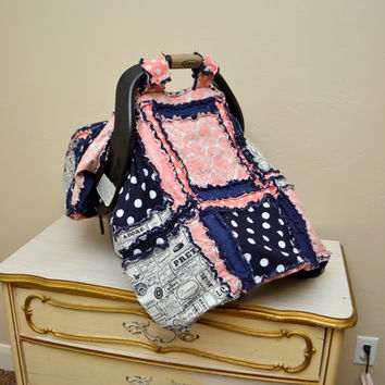 CARSEAT Cover, Rag Quilt, Pink and Navy Blue With Ruffle Back