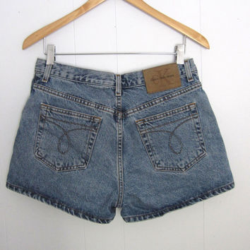 Vintage 90s CK High Waisted Denim Shorts Dark Wash Basic Denim Cotton 30""