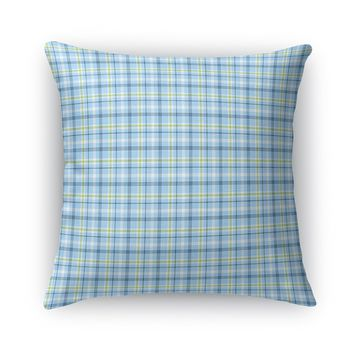 NAVY AQUA LIME NAUTICAL PLAID Accent Pillow By Northern Whimsy