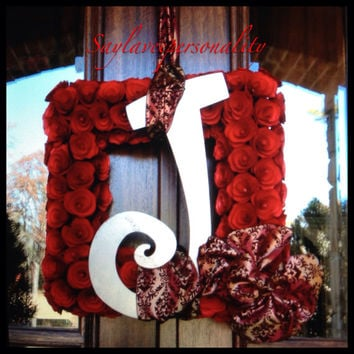20 inch Square Wood Curl wreath personalized with a metal initial and your choice of ribbon.
