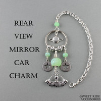 Mufon Gift/Alien Keychain Rear view Mirror Charm/UFO Keychain & Alien Car Accessories/Alien In Space Ship Car Mirror Hanging Decoration ©SRA