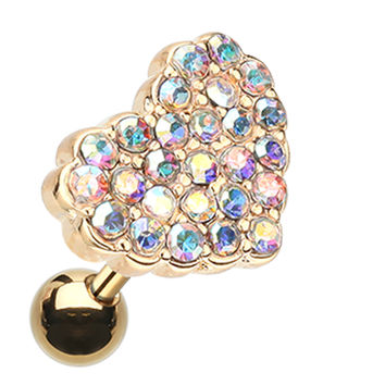 Golden Colored Sparkling Heart Multi-Glass-Gem Cartilage Tragus Earring