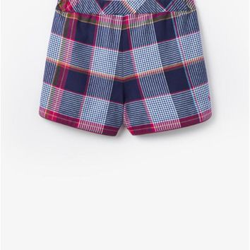 Navy Check Rae Printed Flannel Pyjama Shorts | Joules UK