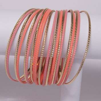 Bangle Bracelet, Pastel Pink, Peach & Gold
