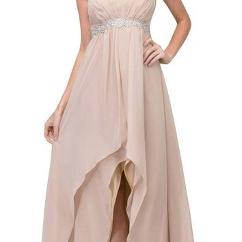 High Low Taupe Semi Formal Dress Empire Rhinestone Waist