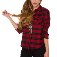 Ivy Lyn Plaid Top - Burgundy