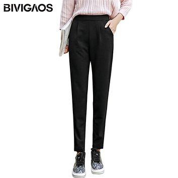 BIVIGAOS Spring Summer New Ladies Korean OL Black Harem Pants Breathable Thin Casual Pencil Pants Simple Trousers For Women