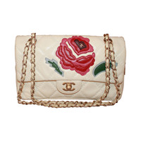Chanel Ivory Quilted Leather Handbag with Pink & Red Camellia - circa 2005