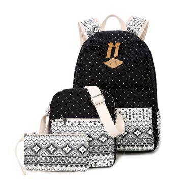 3pcs Black Backpack Canvas Travel Bag