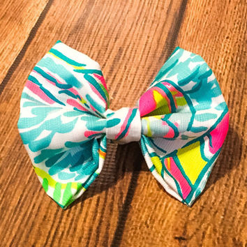 72cbcc9b74de Lilly Pulitzer Fabric Hair Bow, Hair Accessories, Hair Bow, Sorority Gift,  Lilly