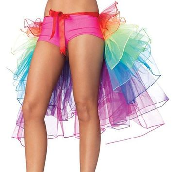 Women's Rainbow Style Multicoloured Long Tail Skirt Lingerie Mini Skirt Bubble Skirt Tutu Dress