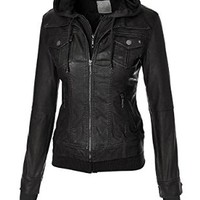 MBJ Womens 2-For-One Hooded Faux leather Jacket S BLACK