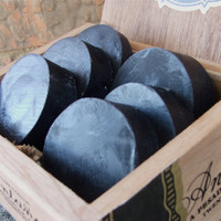 Black Leather 3 bars Handmade Soap Shave or by DirtyDeedsSoaps
