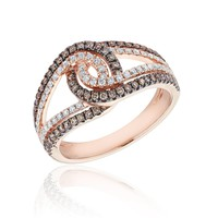 Natural Champagne Diamond and Diamond Twist Fashion Ring 5/8ctw