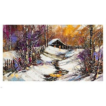 OIL PAINTING vivid colors winter scene HOUSE IN SNOW 24X36 (Paper Poster)