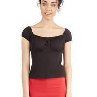 ModCloth Vintage Inspired Short Length Cap Sleeves Cropped Don't Crop Believin' Top