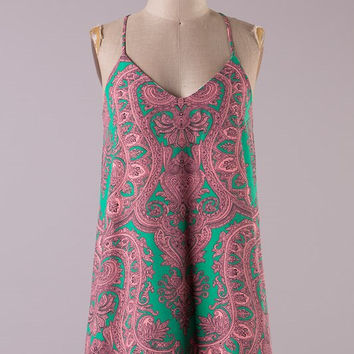 Paisley Print Racer Back Dress