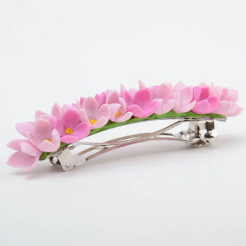 Handmade decorative hair clip with tender pink cold porcelain flowers for girls