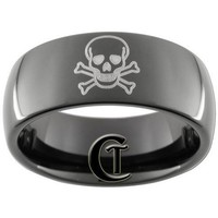 9mm Black Dome Tungsten Carbide Skull and Crossbones Design Ring Sizes