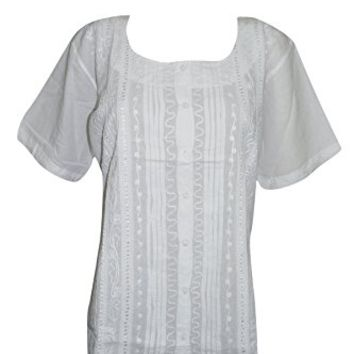 Mogul Interior Womens Top Blouse Cotton Hand Embroidered White Flatter Figure Spring Tunic Beach Cover Up