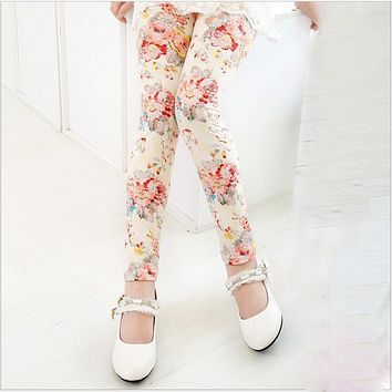 VEENIBEAR New Flower Print Girl Pants Comfortable Cool Summer Girl Leggings Children Kids Pants Baby Girl Clothes Trousers 2-13T