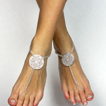 Stunning Bridal Barefoot Sandals in Silver