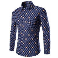 Color Checkered Design Men's Slim Fit Dress Shirt