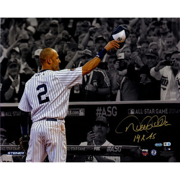 Derek Jeter Signed 2014 All Star Game 16x20 Tip Cap Photo On Metallic w 14x AS Insc. (LE of 22)