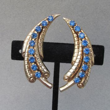 Gorgeous!  1940's Retro Sapphire Blue Rhinestone CLIMBER Earrings