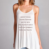 Palm Trees Ocean Breeze Graphic Tank Top