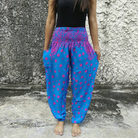 Dot Printed Yoga Pants Exercise Hippies Harem Baggy Boho Hobo Gypsy Tribal Hipster Plus Size Aladdin Clothing Harem trouser in Blue Cute