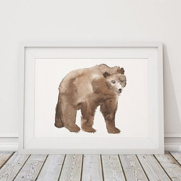 Watercolor art print Cute bear poster Nursery decor ACW36
