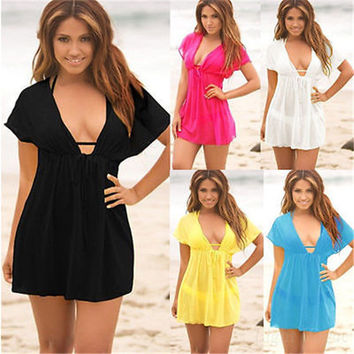 2016 Summer Women Sexy Deep V-Neck Beach Dress Swimsuit Short Sleeve Cover Up Women Loose Blouse Beachwear Dresses