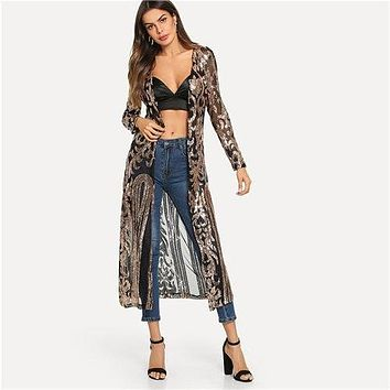 COLROVIE Black Sheer Sequin Open Front Kimono Sexy Cardigan Vint 7a771300c411