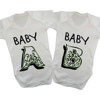 Baby A Baby B Twins (Enchanted Font) Baby Onesuits