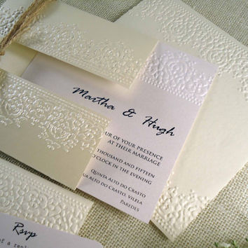 Rustic Wedding invitation Embossed Wedding Invitation Invitation Tags Elegant Wedding