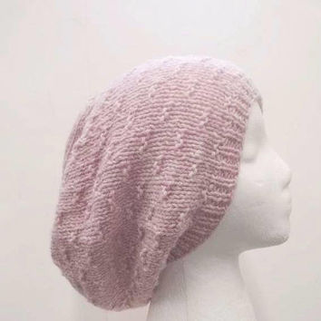Pink oversized beanie slouch hat knitted  5317