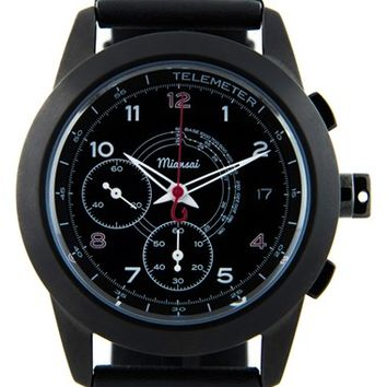Miansai 'M1 Noir Classic' Automatic Chronograph Leather Strap Watch, 39mm - Black (Online Only)