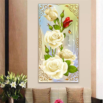DIY 5D Diamond Mosaic White Rose Resin with Full Painting Cross Stitch Kits Diamonds Embroidery Home Decoration
