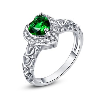 Silver Heart Of Ocean Cut  1.8ct Lab Created Emerald Love Forever Halo Promise Ring