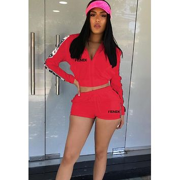FENDI Hot Sale Fashionable Women Casual Long Sleeve Hoodie Top Shorts Sport Set Two Piece Red