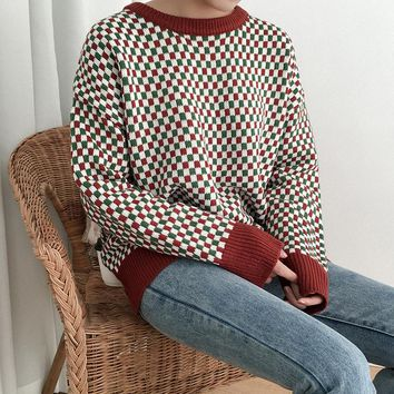 2018 New Harajuku Women Sweaters Spring Retro Plaid Long Sleeve Knitted Sweater Female Casual Pullovers Jumpers