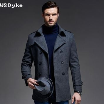 Autumn Casual Business Style Outerwear Wool Slim Long Thick Men  Woolen Cloth Coat