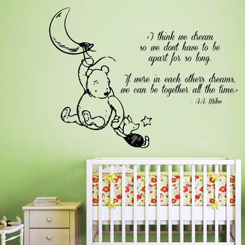 Wall Decals Vinyl Decal Sticker Home Interior Design Art Mural Winnie The Pooh Quote Piglet Moon Girl Boy Kids Nursery Baby Room Decor KT84