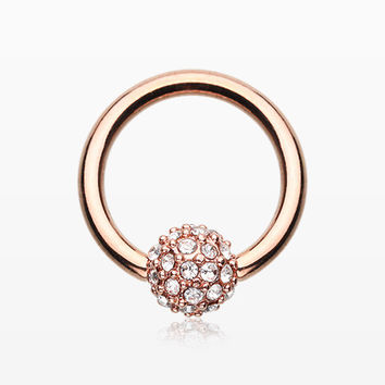 Rose Gold Pave Sparkle Full Dome Captive Bead Ring