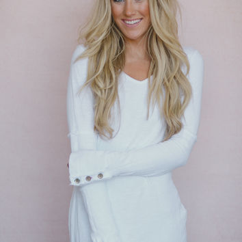 World's Best Shirt! Long Sleeve Thermal Cuff in White